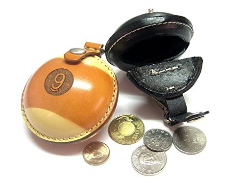 Billiard Depot Men's Women's Genuine Leather Quality Coin Change Pouch Bag Wallet Holder, Billiards Gift (9 Ball)