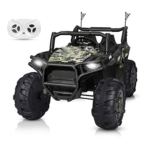 BAHOM 12V Electric Ride on Truck Car 2 Seats for Kids with Parental Remote Control, LED Light MP3/Bluetooth Music Player, Easy to Assemble (Camouflage)