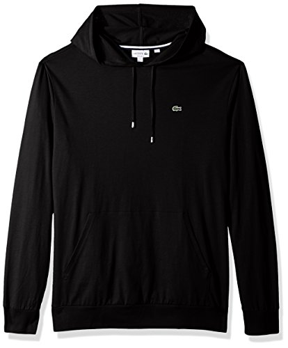 Lacoste Men's Long Sleeve Hooded Jersey Cotton T-Shirt Hoodie, Black