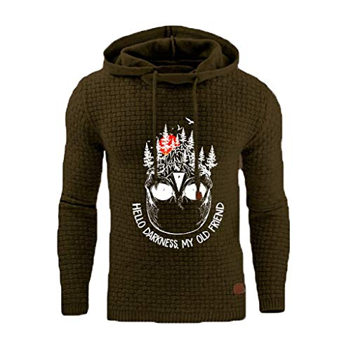 Hello Darkness My Old Friend Print Knitted Jumper Mens Warm Hoodies Pullover Hooded Top Thick Sweatshirt 8 16 UK Rikay Army Green