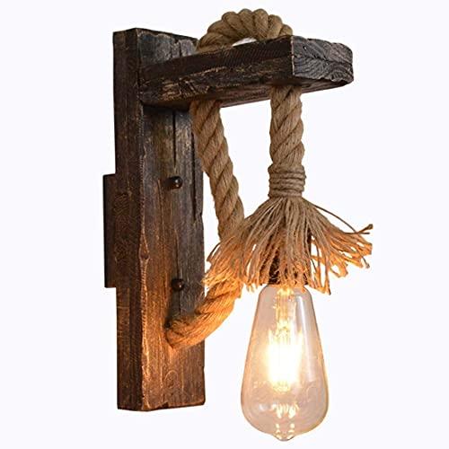 YANSW Lámpara de pared Aplique de pared Aplique de pared, Vintage Industrial Rústico Madera Hierro Cuerda de cáñamo E27 Loft Personalidad creativa Elevador Polea Accesorio para iluminación interior,1