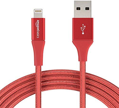 AmazonBasics – Cable de nailon con trenzado doble, de USB A a Lightning, con certificación MFi de Apple, Rosso, 3 m