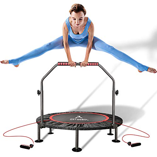 arteesol Mini Trampoline 40-inch Rebounder Indoor Foldable Noiseless Small Trampoline with Safety Pad, Adjustable Foam Handle for Kids Adults Outdoor Exercise Fitness Trampoline (Carmine)