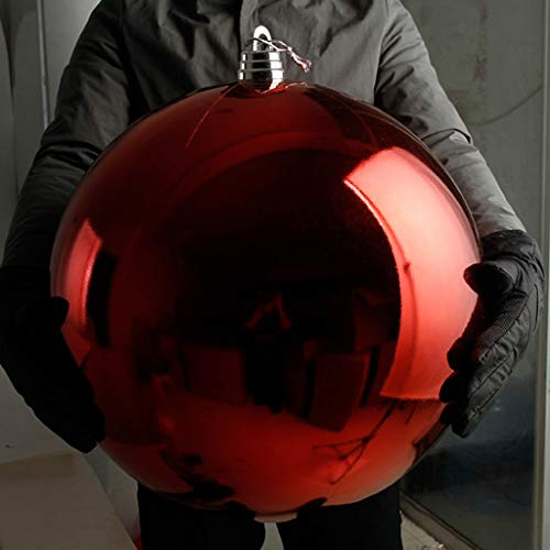 Kffc Palline di Natale Albero di Natale, Regali di plastica, Rosso, 15,20,25,30,40,50,60 cm (1 Pezzi) (Dimensioni : 20 cm)