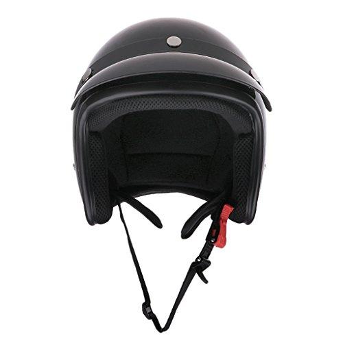 MagiDeal Casque De Moto Homologué Bol Retro Vintage Face Ouverte avec Pare-Soleil - XL