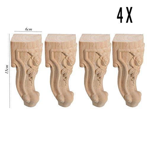 Jeteven 4 Stück Möbelfüße Schrankfüße aus festholz, Zapfenverbindung Struktur, 15x6cm