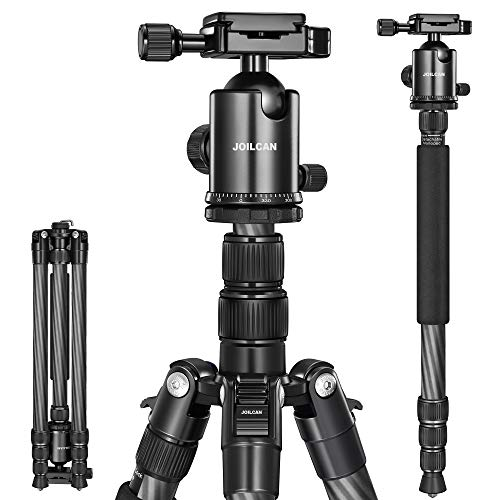 JOILCAN 81' Carbon Fiber Camera Tripod,Professional Tripod Monopod with 360 Degree Ball Head and Carrying Case for Travel and Work Load up to 35Ibs