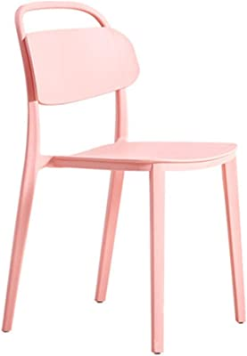 Casual Plastic Back Home Dining Chair Cold Drink Shop Cafe Chair Bearing Weight 250Kg Anti-Fall Anti-Aging,Pink