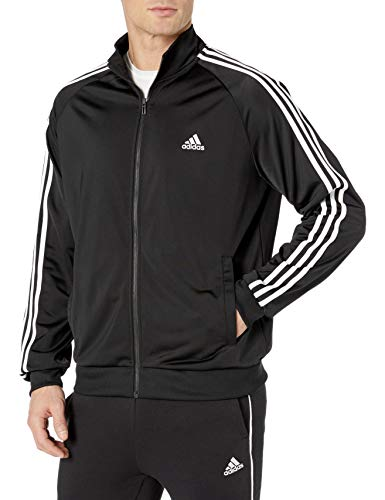 adidas Men's Essentials 3-Stripe Tricot Track Jacket, Black/White, Medium