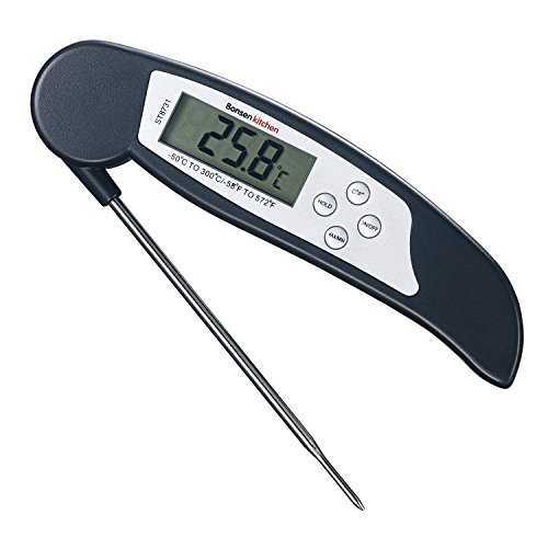 Bonsenkitchen Termómetro Digital de Cocina para Carne Barbacoa Comida Liquidos Aceite, Termometro Alimentos con Pantalla LCD para Lectura Instantánea (ST8730) (Negro- ST8731)