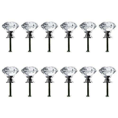 Neewer 30mm Pomelli in Cristallo a Forma di Diamante per Maniglie, Stipi, Armadietti, Cassetti, e Decorazioni (12pomelli)