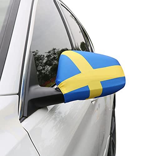 Sonia Originelli Auto Außenspiegel Fahne Set Schweden Sweden Bikini Flagge EM WM