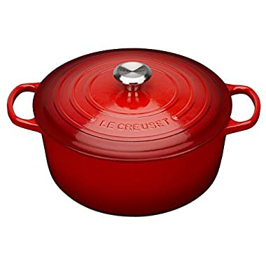 Le Creuset Signature Enameled Cast-Iron 5-1/2-Quart Round French (Dutch) Oven, Cerise (Cherry Red) w/ Stainless Knob