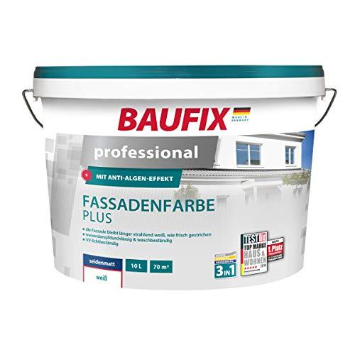 BAUFIX professional Fassadenfarbe plus, 10 Liter, atmungsaktive Fassadenfarbe weiß für außen, mit Anti-Grün-Formel, scheuerbeständig, wasserabweisend, hoch wetterbeständig