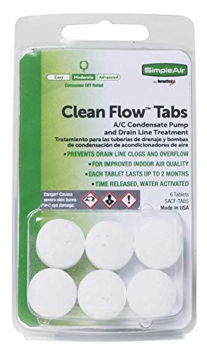 SimpleAir Clean Flow HVAC Drain Line Treatment Tabs, 6 Count.