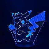 jiushixw 3D dreidimensionales farbwechselndes Nachtlicht mit entferntem Tischlampenschalter, klare katzenhohe Kerzenleuchterlampe für Spielzeugferiengeschenke für Halloween-Kinder
