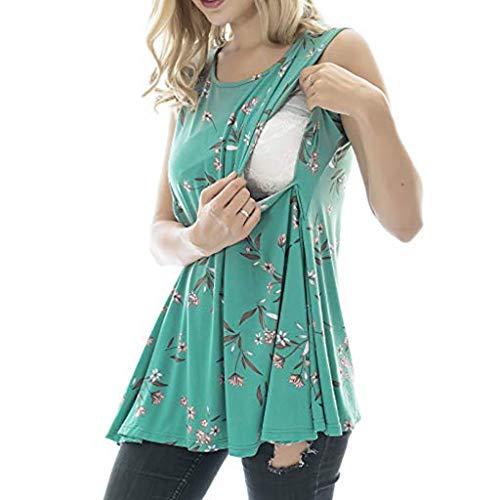 Damen ärmellose Umstands Stillshirt Tshirt Umstandstop Umstandsmode Mode Solide Stilltop Schwangerschaft Stilloberteil Frauen Shirt Oberteile Tops Blusen Still-Shirt