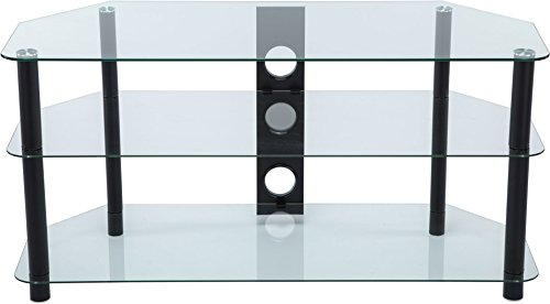 Stealth Mounts 37827 1000 mm Glass and Legs TV Stand for 3D/LED/LCD/Plasma TVs Up To 50 - Clear/Black