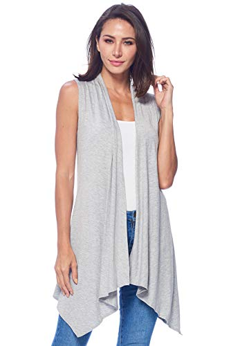 82 Days Womens Casual Sleeveless Long Summer Cardigan Plus Size Made in USA X-Large Hgray