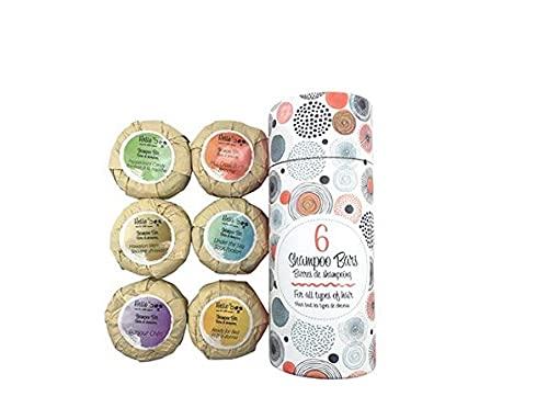 Champú para el cabello orgánico en barra paquete de 6 70g | Jabón para el cabello anticaspa con aceite esencial natural para el cuero cabelludo que pica, la psoriasis y el cabello sedoso | 6 aromas