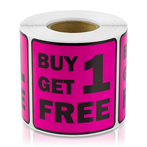 "Buy ONE GET ONE Free (Buy 1 get 1 Free) 2""x2"" Point of Sale Discount Pricing Retail Labels Stickers (Dark Pink / 300 Labels per roll / 10 Rolls)"