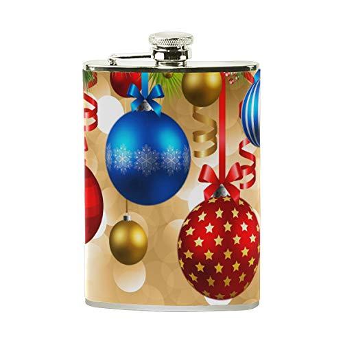 TIZORAX Kerstballen RVS Hip Flask, Pocket Flagon,Camping Wijnpot, Gift voor Mannen of Vrouwen, 8 Oz