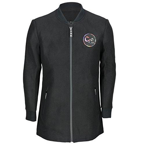 New Mens Longline Bomber Jacket Wool Blend Baseball Coat Slim Fit in Black, Grey [S,Black]
