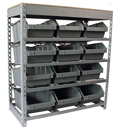 King's Rack Bin Rack Boltless Steel Storage System Organizer w/ 12 Plastic Bins in 4 tiers