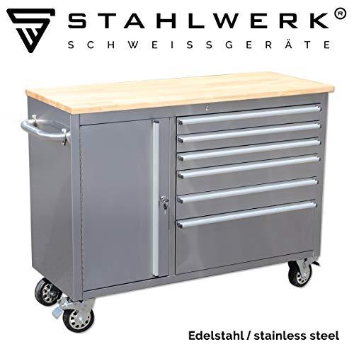 STAHLWERK Werkstattwagen W-511 ST, Werkzeugwagen, Montagewagen, 5 Schubladen 1 Auszug 1 Tür, polierter Edelstahl, stabile Lenkrollen mit Feststellbremse