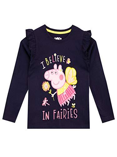 Peppa Pig Camiseta de Manga Larga para niñas Azul 5-6 Años