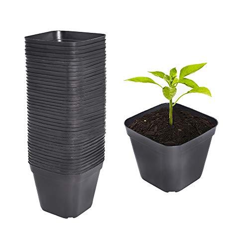 AISENPARTS 100 vasi per piante quadrati in plastica vasi da vivaio sono durevoli e riutilizzabili, utilizzati per lavvio di semi o piante grasse 10x7x9 cm