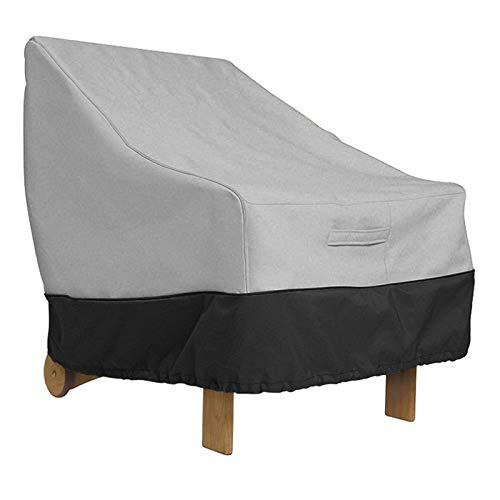 AMGJ Fundas para Silla de Patio, Cubierta para Muebles de Jardín Tela de Oxford 420D Impermeable, Protección contra los Rayos UV, Antiviento,Gray Black,96.5x89x79cm