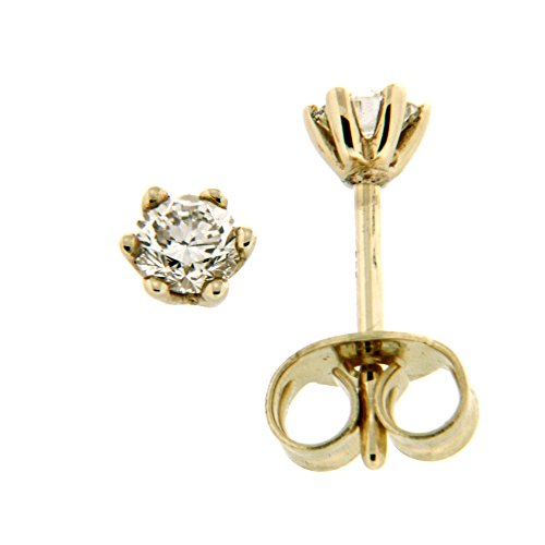Orolino Damen Ohrstecker 585/- Gold 0,4cm Glänzend Brillant gelb 0.3000 Karat 067320093-1
