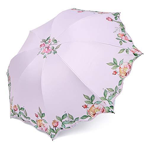 LYJZH Regenschirm Taschenschirm, kompakter tragbarer,geeignet für Männer und Frauen Sonnenschirm kreative Blume dreifach gefaltet color5 95cm