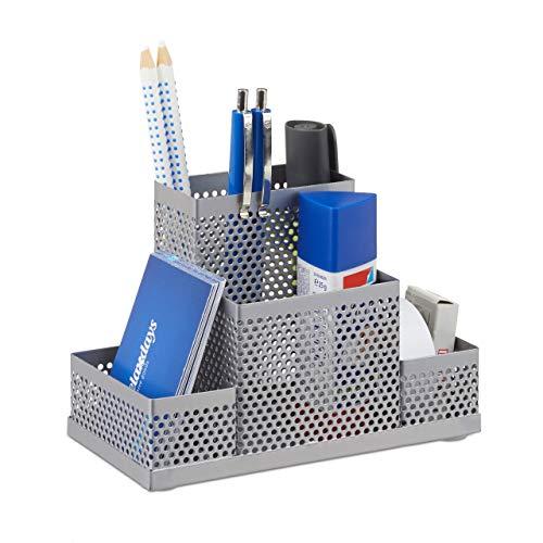 Relaxdays Metalowy organizer na biurko, pojemnik na długopisy, organizer na biurko dla dzieci, z otworami, wys. x szer. x gł.: 11 x 16 x 8 cm, srebrny