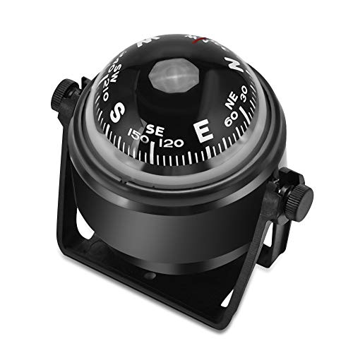 Yosoo Health Gear Boat Compass, Dash Mount Flush - Boating Compass Dashboard Suction - Navigation Marine Compass with Adjustable Mounting Bracket for Car Watercraft Boat Caravan Truck