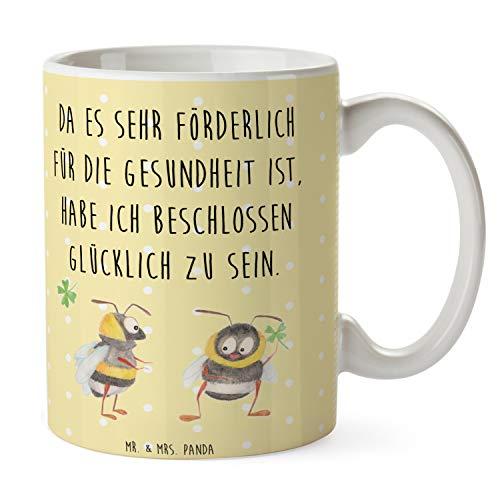 Mr. & Mrs. Panda Tee, Kaffeetasse, Tasse Hummeln mit Kleeblatt mit Spruch - Farbe Gelb Pastell
