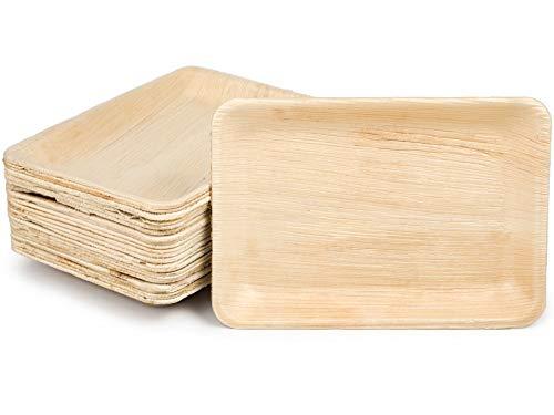 quau | 25 Einwegteller aus Palmblatt | 23cm x 16cm | rechteckig | robust & kompostierbar | Palmblattteller