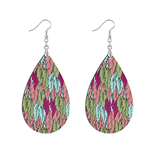 1 paio di orecchini a goccia rosa a forma di piume modello in legno dipinto orecchino goccia orecchini per le donne, Leaf drop, Legno Rame Argento,