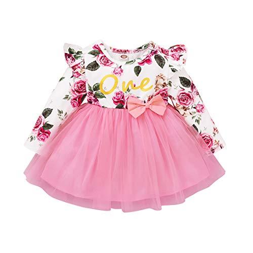 FYMNSI Baby Mädchen Ersten Geburtstag Outfit Langarm Floral Printed Bowknot Tutu Tüll Prinzessin Kleid Herbst Casual Kleidung für 6-24 Monate Gr. 92, rose