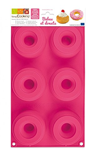 Scrapcooking 3101 Babas et Donuts Moule Silicone Rose 33 x 17,5 x 3 cm