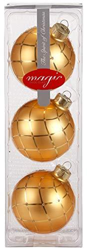 Weihnachtskugeln Diamond Matt Glanz Gold 3er Set 8cm Christbaumkugeln ausgefallen modern Glitzer Glaskugeln Christbaumschmuck edel