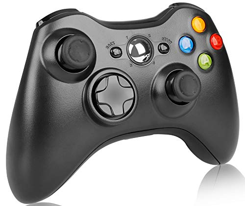 Wireless Controller for Xbox 360, 2.4GHz Game Controller Joystick Remote Wireless Gamepad for Xbox 360/Xbox 360 Slim/PC/Windows 7 8 10 with Dual Vibration (Black)