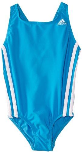 adidas Mädchen Badeanzug Infinitex 3-Stripes 1 Piece, Solar Blu, 128, F80022