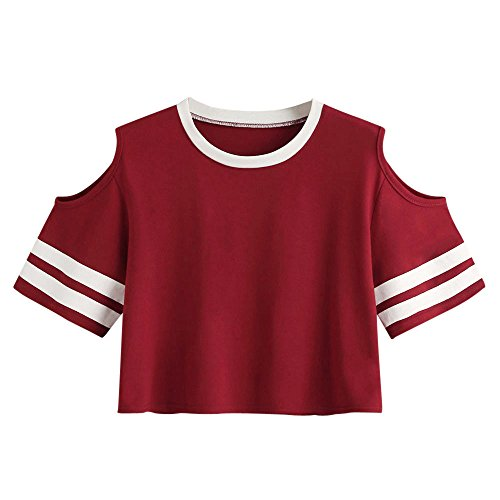 OPAKY Frauenoberteile Kurzes T-Shirt Kurzarm Rundhals Lässige Tops Bluse