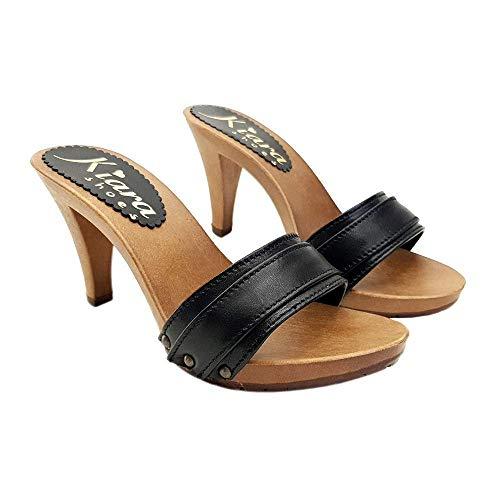 Sexy Frauenclogs mit schwarzem Lederband - K6301 P NERO