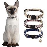 BINGPET Classical Plaid Cat Collar with Bell - 3 Pack Super Soft Breakaway