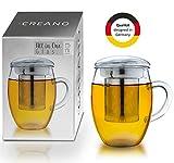 Creano Teeglas All in one 400ml, Große Teetasse mit Edelstahlsieb und Deckel aus Glas, Teebereiter...