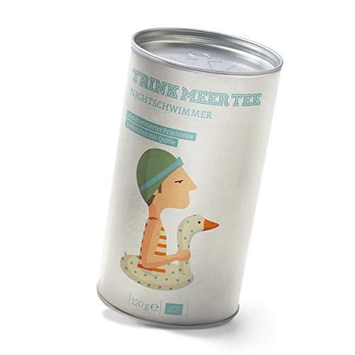 Trink Meer Tee NICHTSCHWIMMER - Bio aromatisierter Früchtetee | Bio Tee mit Holunder Quitte Geschmack | Holunderbeeren, Holunderblüten | heller Früchtetee | loser Tee in Teedose | Geschenk I 120g
