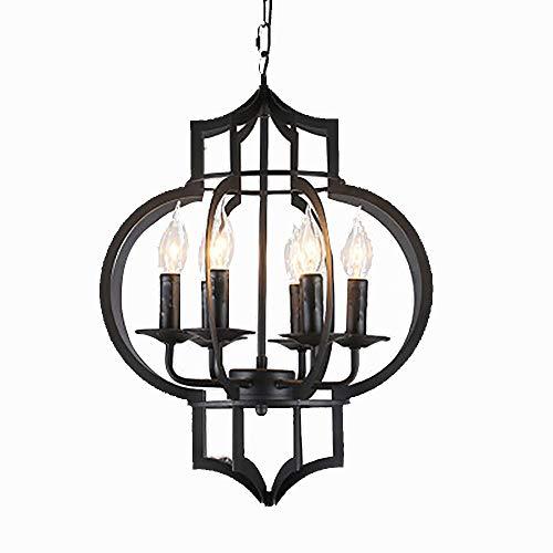 HXSON Retro smeedijzeren kroonluchter kaars led-verlichting lamp - 6 koppen creatieve in hoogte verstelbare plafondlamp voor 10-15m2 slaapkamer, woonkamer